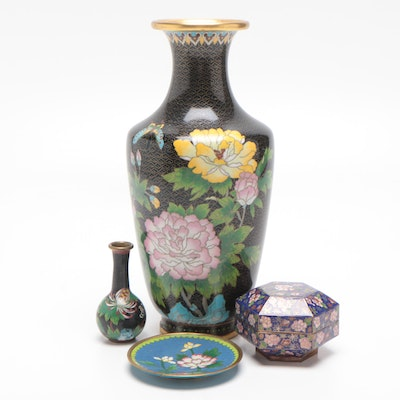 Chinese Cloisonné Floral Vases with Trinket Box and Dish