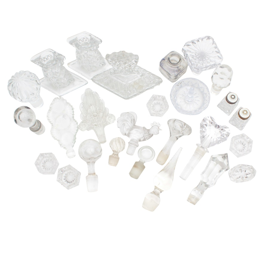 Crystal Candlestick Holders, Perfume Bottles, and Bottle Stoppers