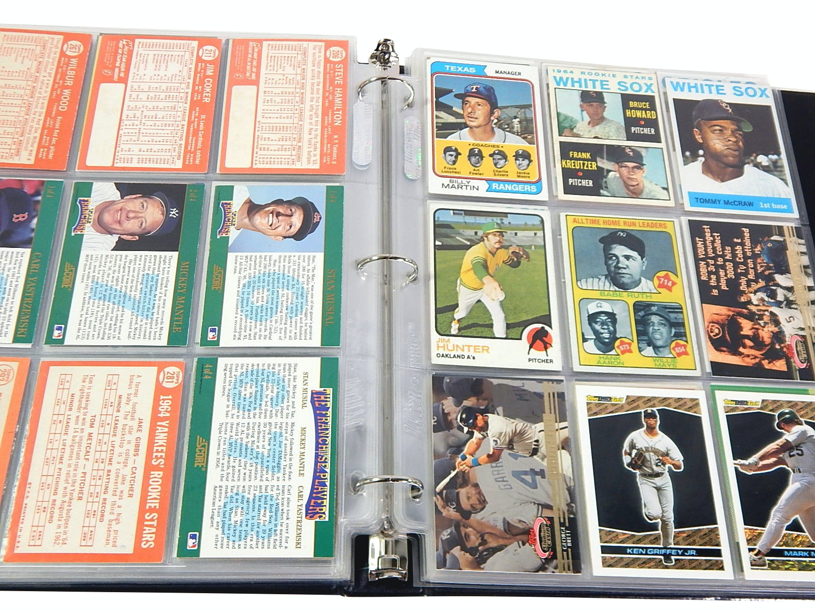 Album of 1960s thru 1990s Baseball Cards with 1973 Topps Ruth/Aaron/Mays #1