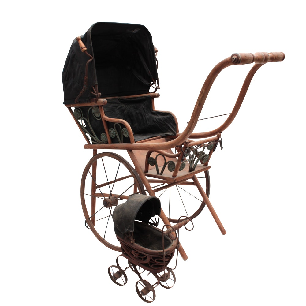 Bentwood Doll Carriage and Miniature Carriage