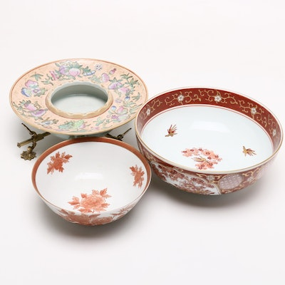 Japanese and Chinese Hand Painted Ceramics, Mid-Century