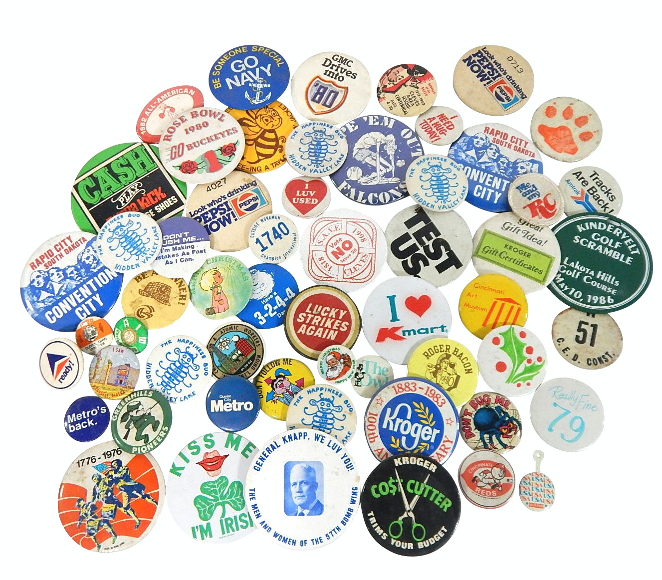 Vintage Pin-back Collection with Sports, Political, Advertising,Militaria Themes