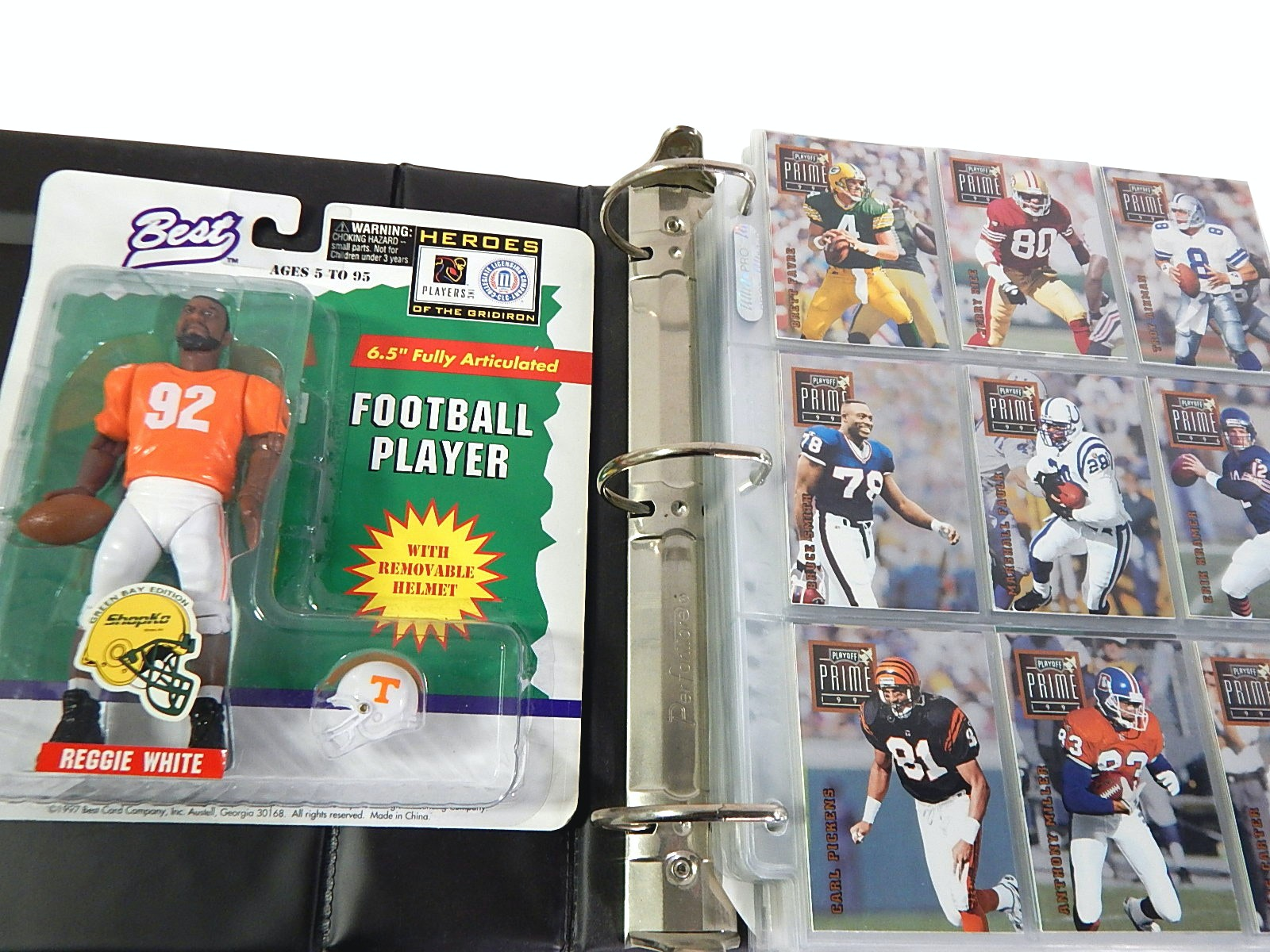 Football Card Binder with Over 300 Cards and Reggie White Action Figure