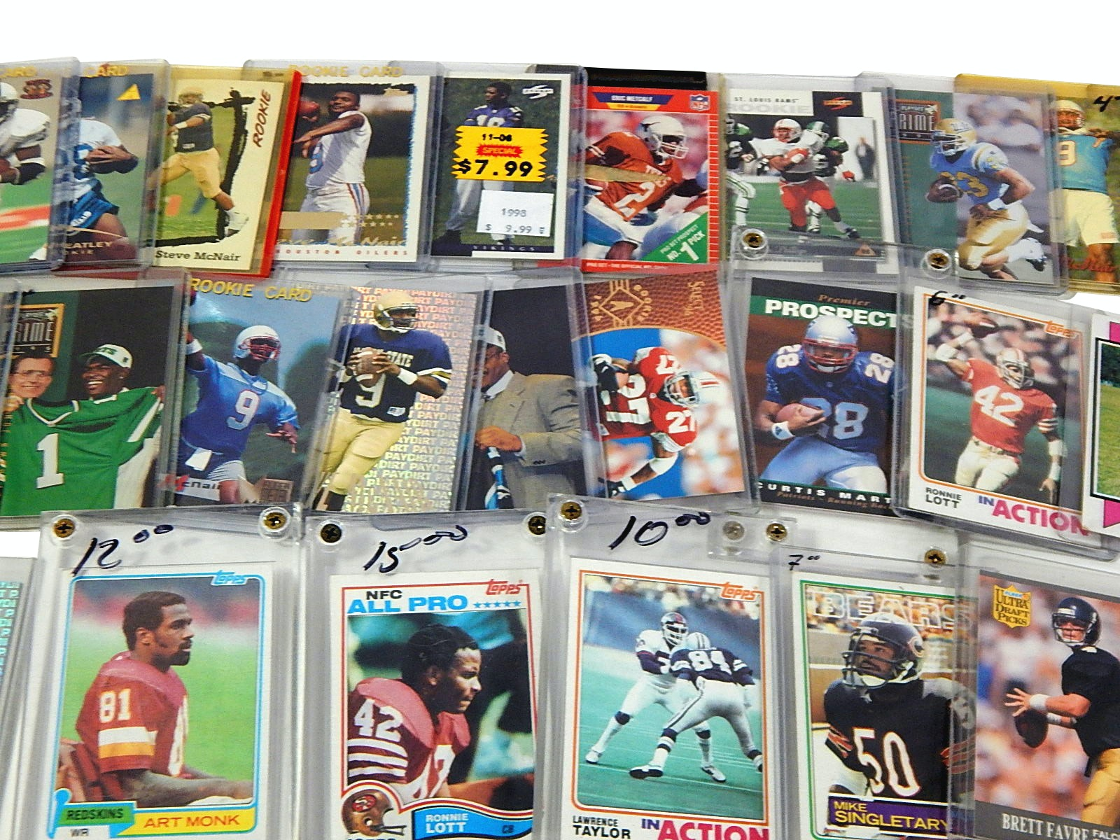 Football Star and HOF Rookie Card Collection with Singletary, Favre, Lott, More