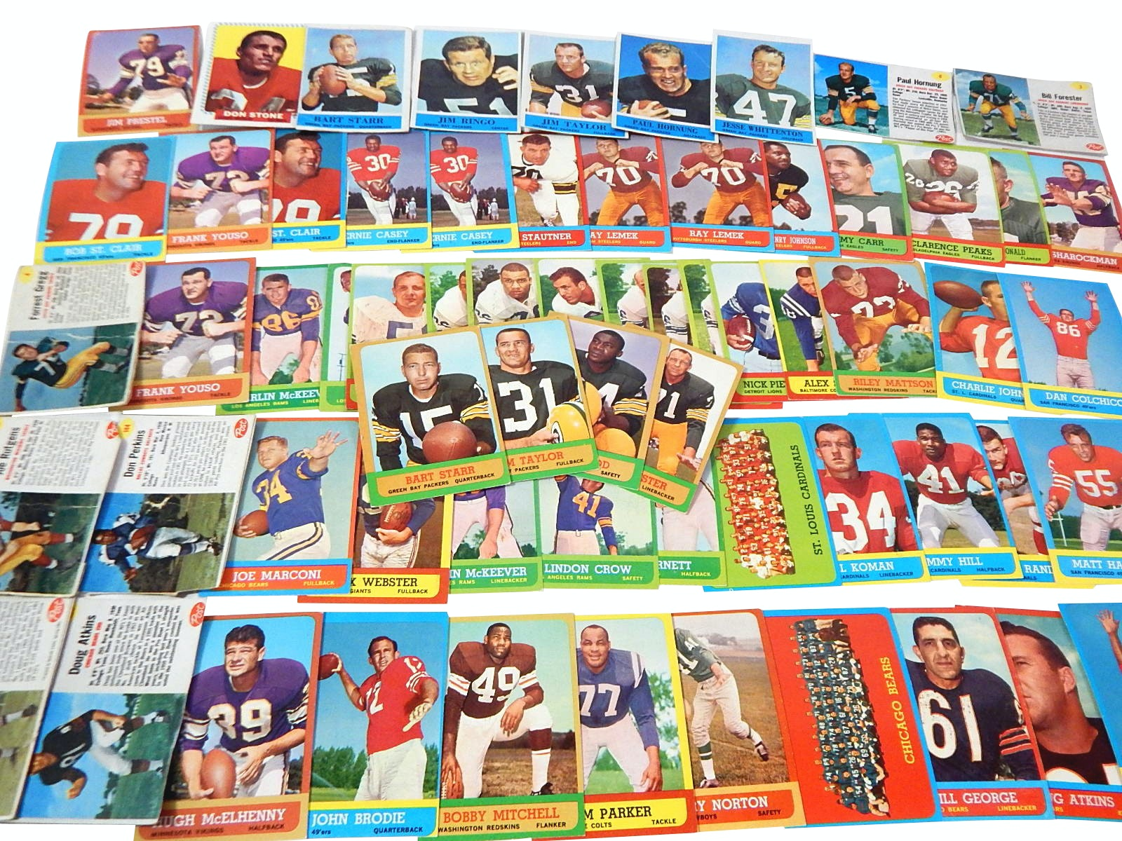 1962 Post and 1963 Topps Football Cards with some 1964 Philadelphia Cards