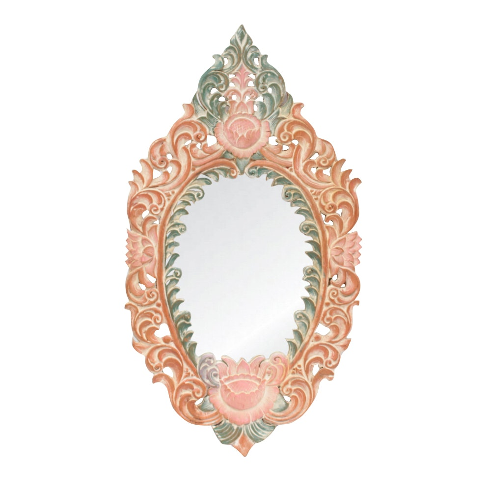 Polychrome Carved Wood Mirror