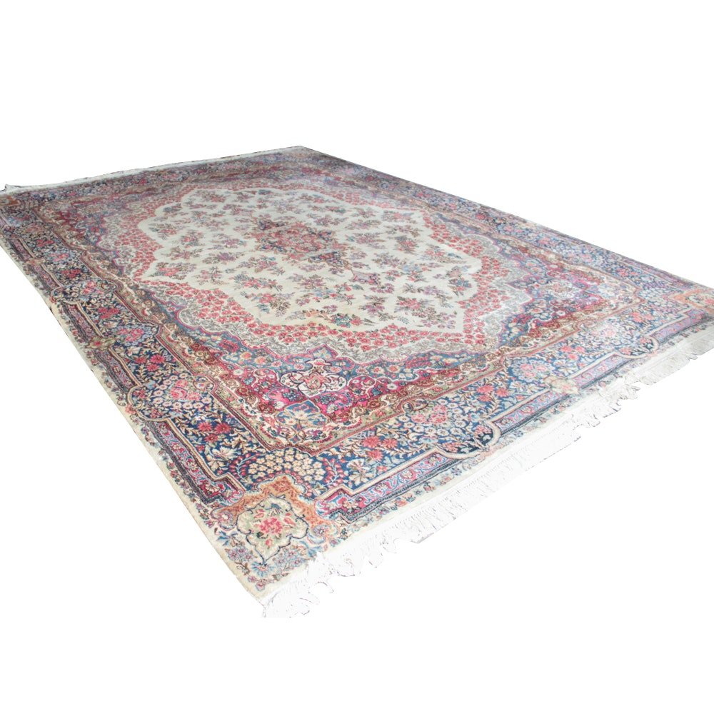 Hand-Knotted Persian Kerman Wool Room Size Rug