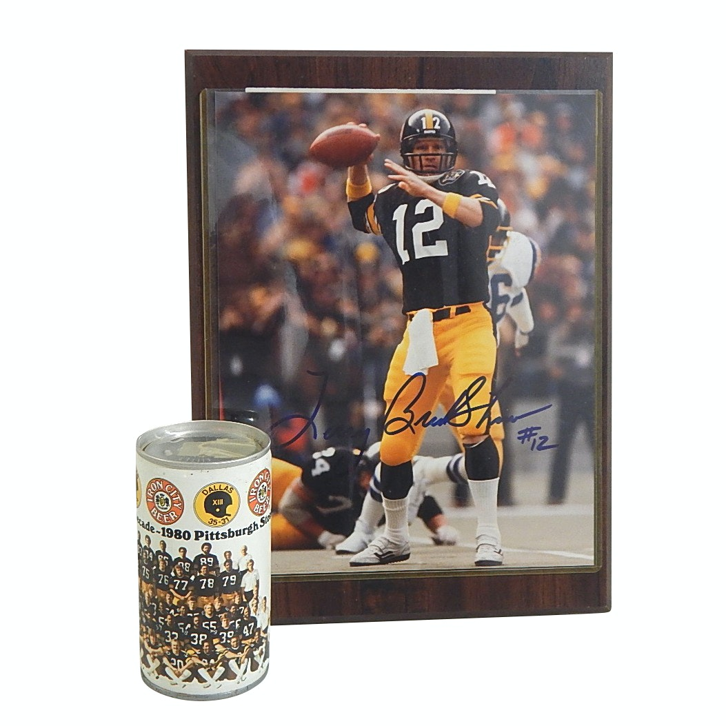 Signed (HOF) Terry Bradshaw Photograph and 1980 Steelers Iron City Beer Can