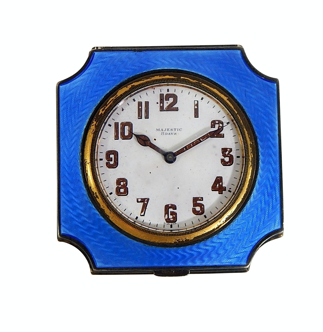 Tiffany & Co. Sterling Silver Guilloche Enamel Travel Clock for Majestic Watch