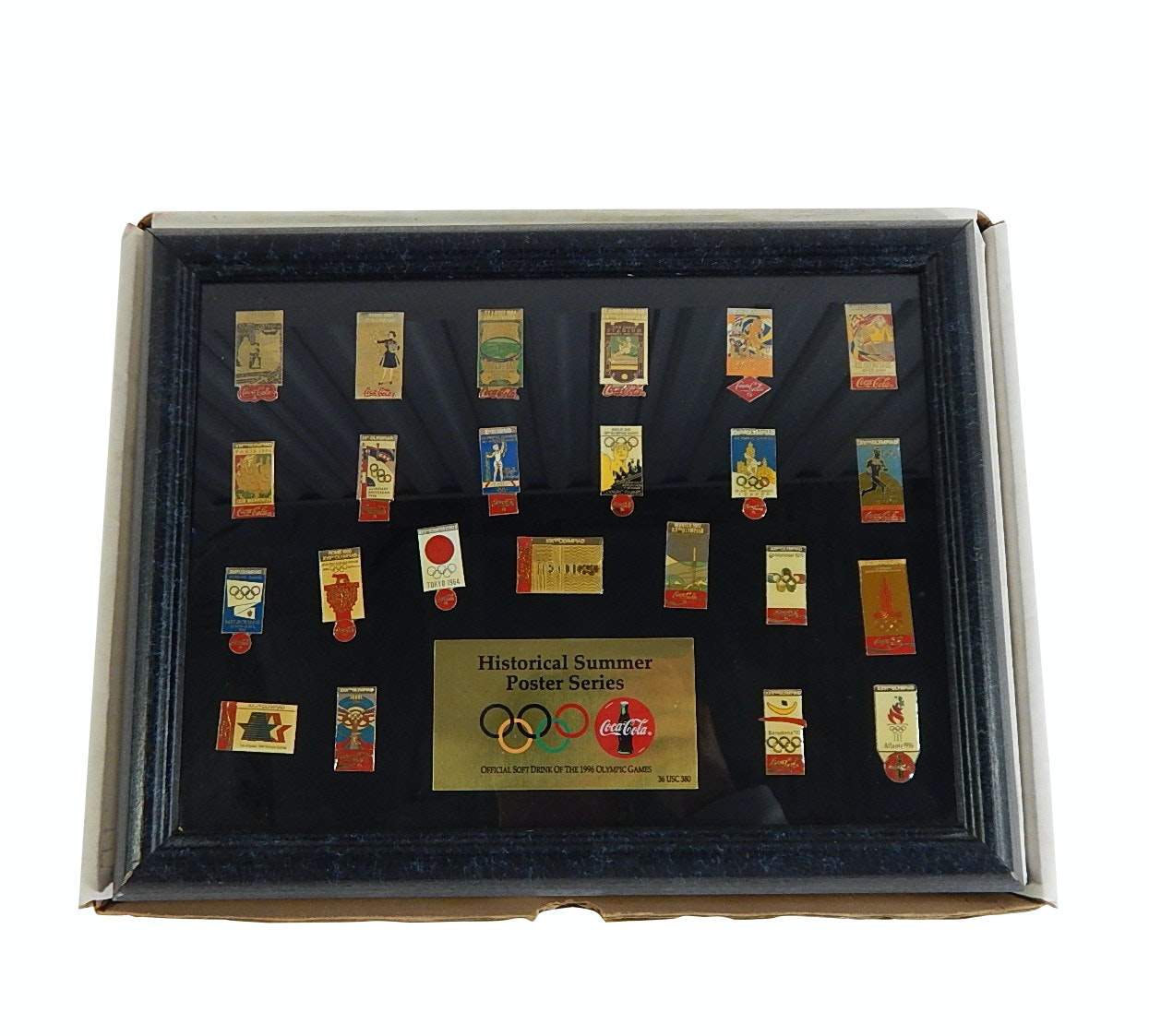 Replica Historical Coca Cola Olympic Pin Collection, 1896 Athens to 1996 Atlanta