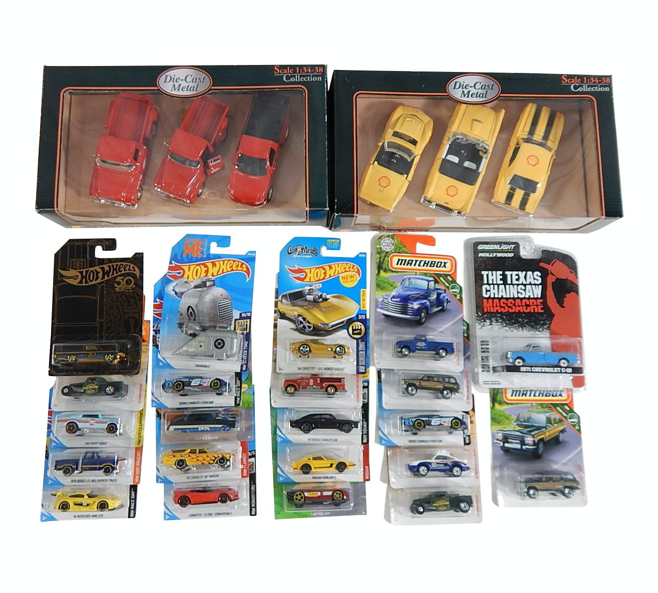 Hotwheels and Matchbox Die Cast Cars,Texaco and Shell Oil Truck and Car Box Sets
