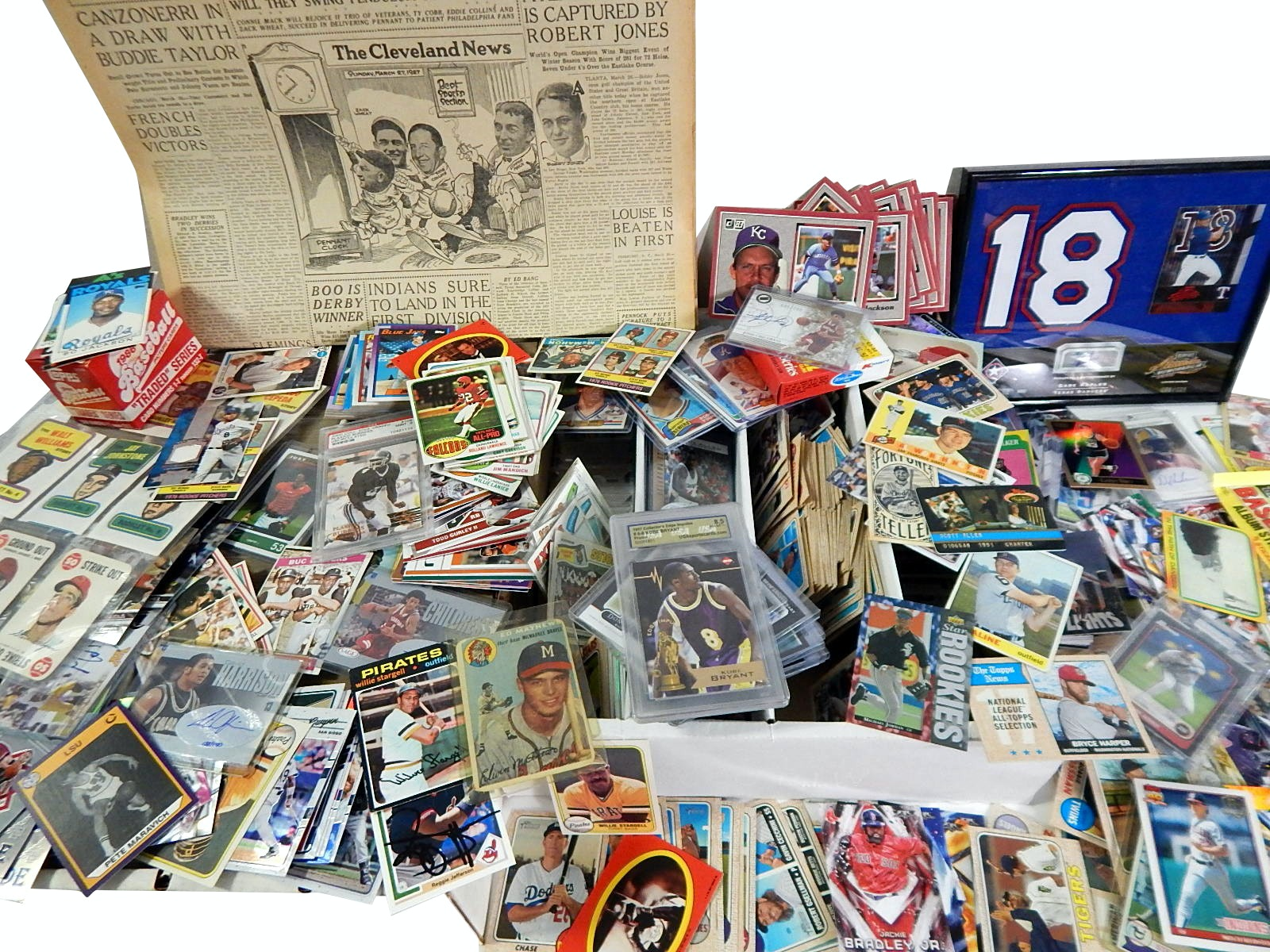 Sports Card Collection with 1954 Topps Eddie Mathews Card - Around 6000 Count