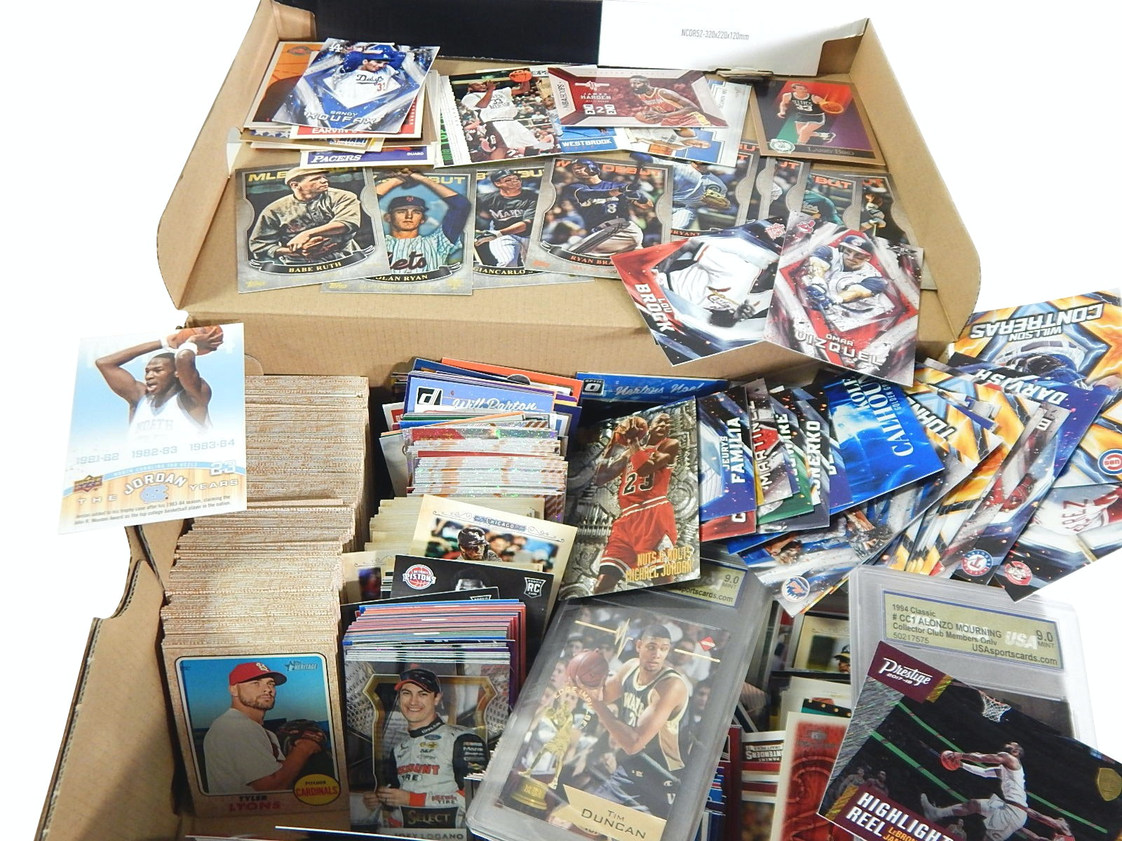 Shoebox Full of Sports Cards with Topps Heritage, Babe Ruth, Koufax - 1000 Ct.