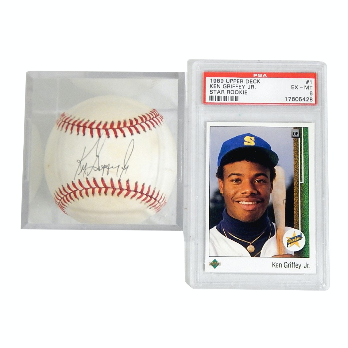 (HOF) Ken Griffey Jr. Signed Rookie Era Baseball and Graded Rookie Card