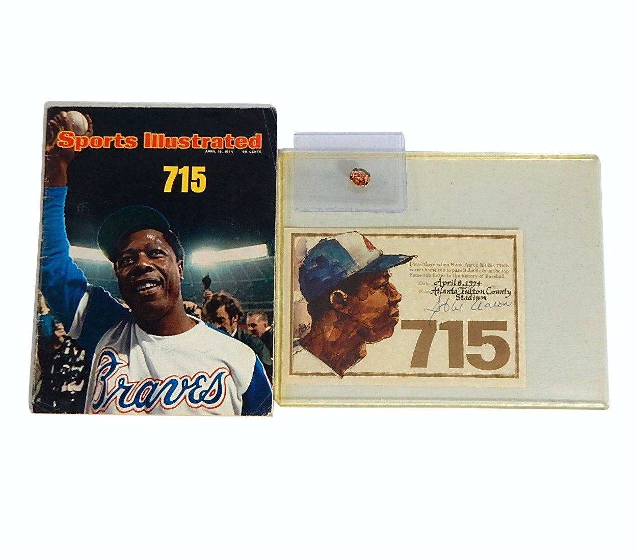 Hank Aaron 1974 Sports Illustrated Cover Magazine and Signed 715 Certificate