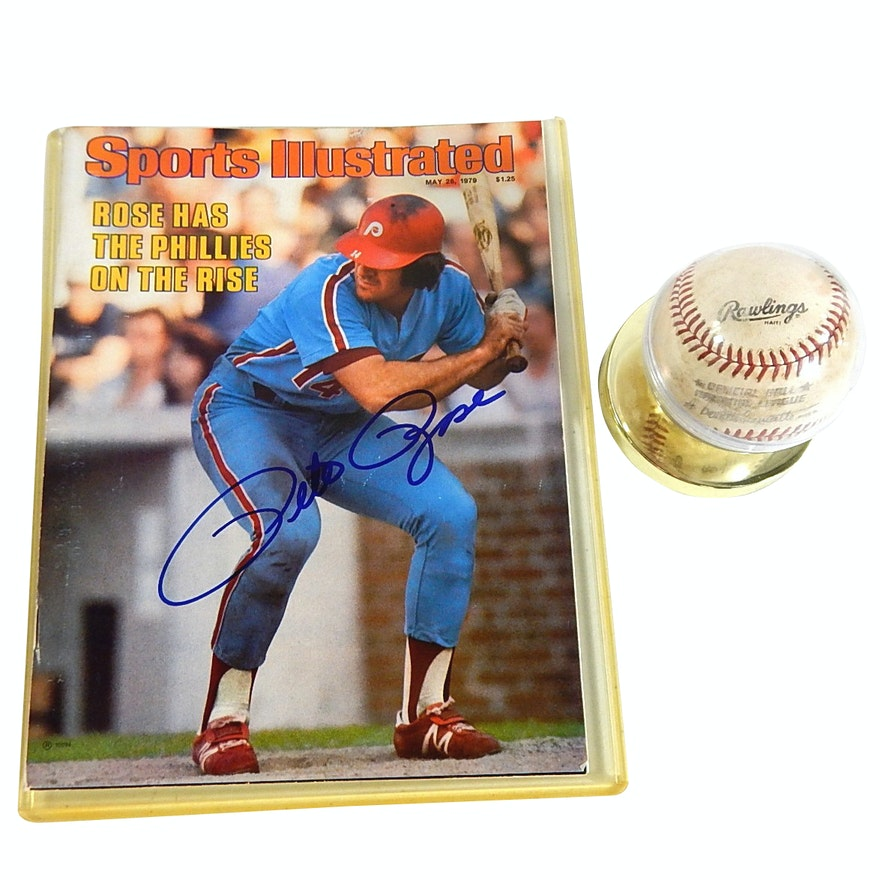 Game Used Bart Giamatti Baseball and Pete Rose Signed Sports Illustrated