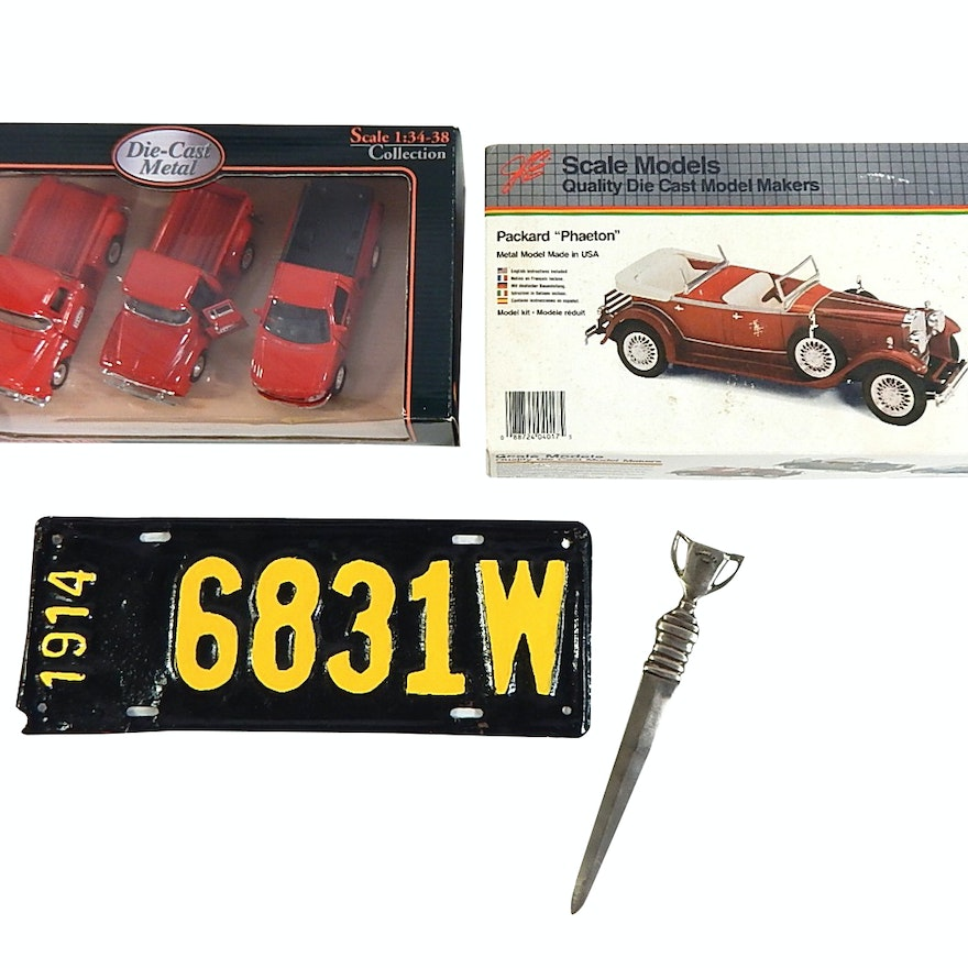 Automobile Themed Collectibles with Die Cast, Models, License Plate
