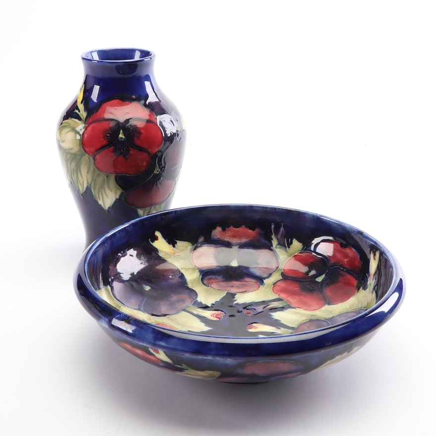 "Moorcroft ""Pansies"" Bowl and Bud Vase, Early to Mid 20th Century"