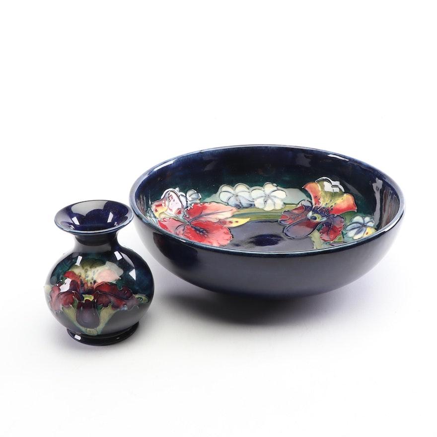 "Moorcroft ""Iris"" Bowl with ""Iris"" Bud Vase, Mid- Century"