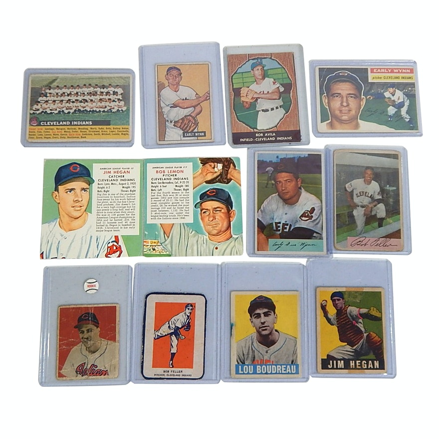 1940s50s Cleveland Indians Baseball Cards With Bob Feller Lou Boudreau Rookie