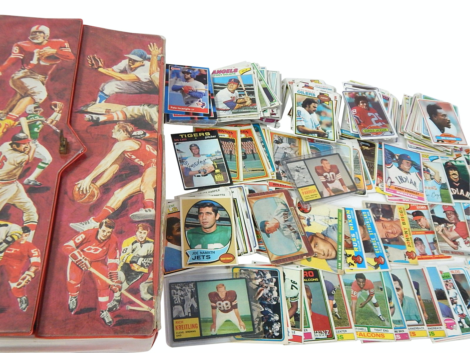 Vintage Sports Card Carrier and Baseball and Football Card Collection 1950s/80s