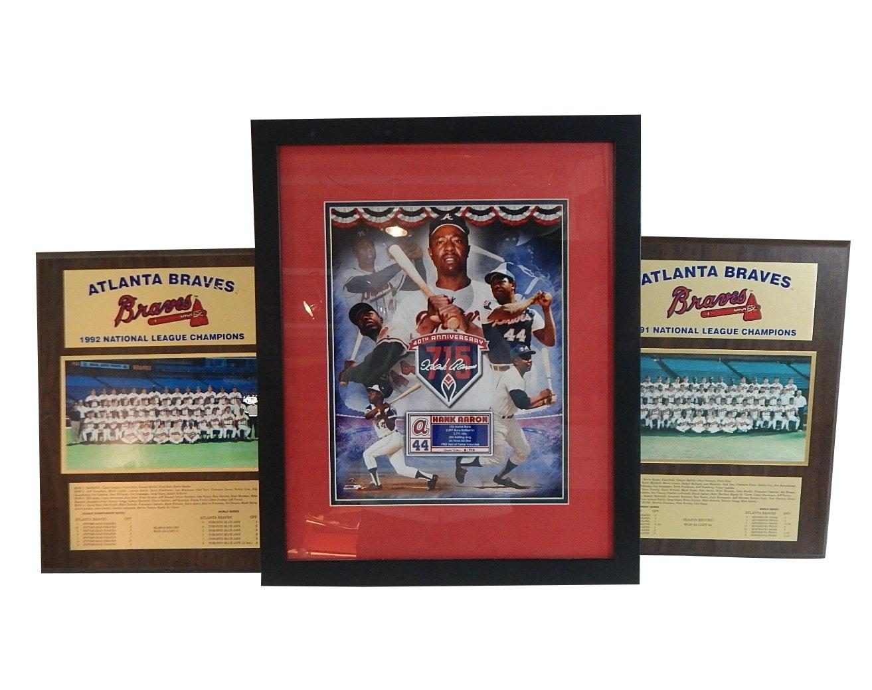 (HOF) Hank Aaron L/E 40th/715  Anniversary Framed Print, Atlanta Braves Plaques