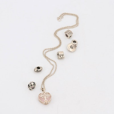 Sterling Silver Rose Quartz Pendant Necklace and Pandora Charms