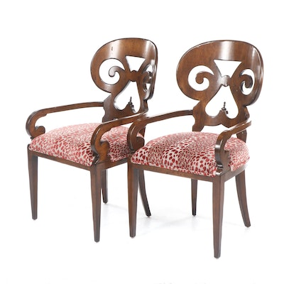 Pair of Contemporary Biedermeier Style Wooden Armchairs with Spotted Upholstery
