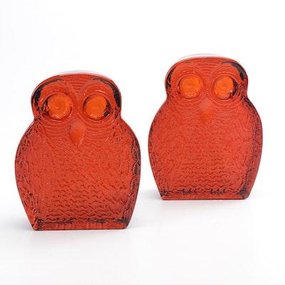 Blenko Amber Glass Owl Bookends, Mid-Century