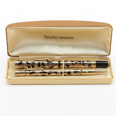 """Waterman Fountain Pen and Pencil Set with Gold """"Trefoil"""" Overlay, Early 20th C."""