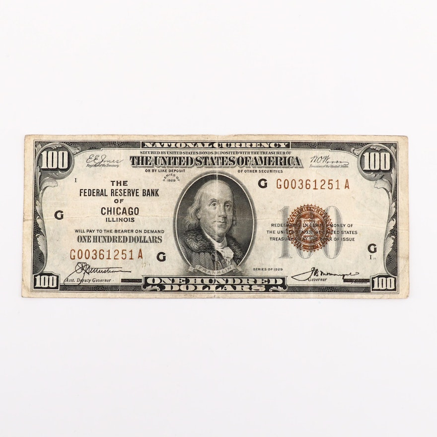 Series of 1929 U S  $100 National Currency Note