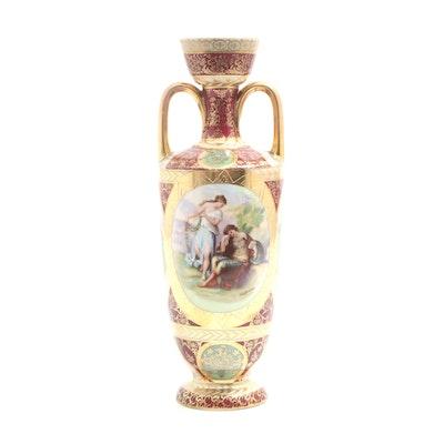 Austrian Hand-Painted Porcelain Vase