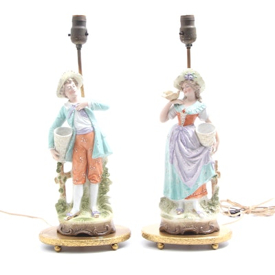 Dresden Style Converted Figural Table Lamps