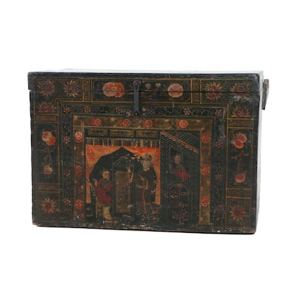Polychrome-Decorated Chinese Black-Lacquered Trunk, Late 18th or Early 19th c.