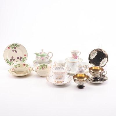 Porcelain, Bone China, and Ceramic Teacup and Saucer Assortment