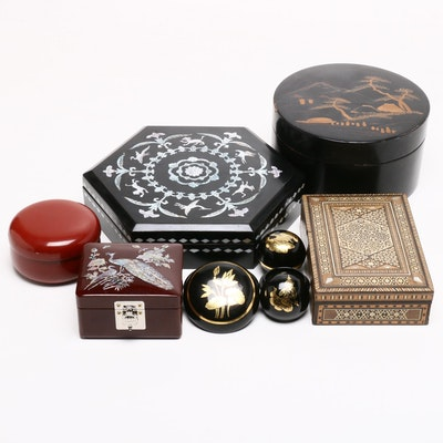 East Asian and Middle Eastern Inlaid Trinket Boxes with Lacquerware Coasters