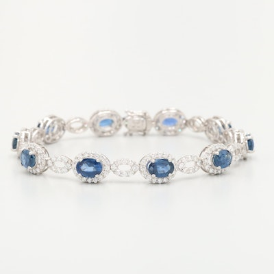 18K White Gold Sapphire and 3.45 CTW Diamond Bracelet with GIA Report
