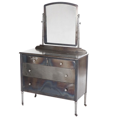 "Simmons Furniture Company ""Sheraton"" Brushed Steel Vanity, Circa 1930"