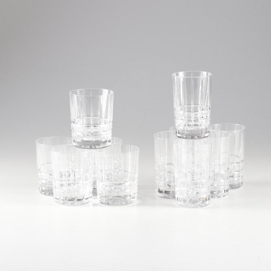 "Tiffany & Co. Crystal Hand-Cut ""Plaid"" Double Old Fashioned Rocks Glasses"