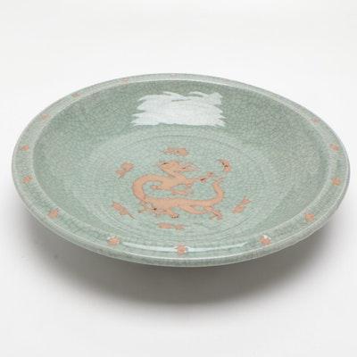 Chinese Celadon Stoneware Dragon Motif Dish