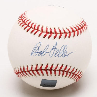 """Bob Feller Signed Topps """"2001 ARchives Reserve"""" MLB Logo Baseball  COA"""