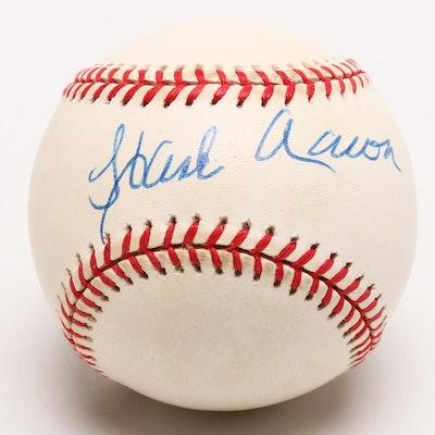 (HOF) Hank Aaron Signed Rawlings National League Baseball JSA COA