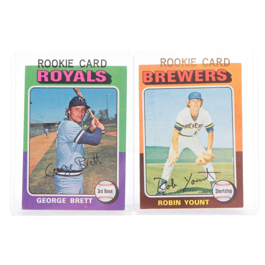 1975 George Brett And Robin Yount Topps Rookie Baseball Cards