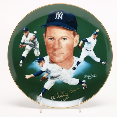 1985 Signed Whitey Ford New York Yankees Collector's Plate, JSA COA