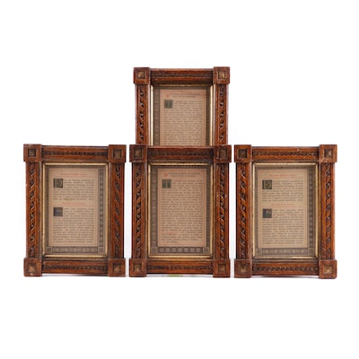 Latin Bible Pages in Carved Wooden Frames, 19th Century