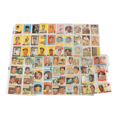 1950s Topps Baseball Cards Including Hall of Fame Players and Stars