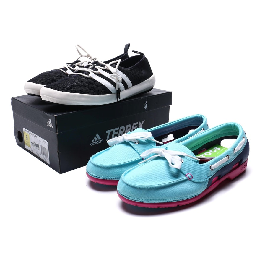 new style bca1a 3de5c Adidas Terrex CC Boat Sleek Sneakers and Crocs Beach Line Hybrid Boat Shoes