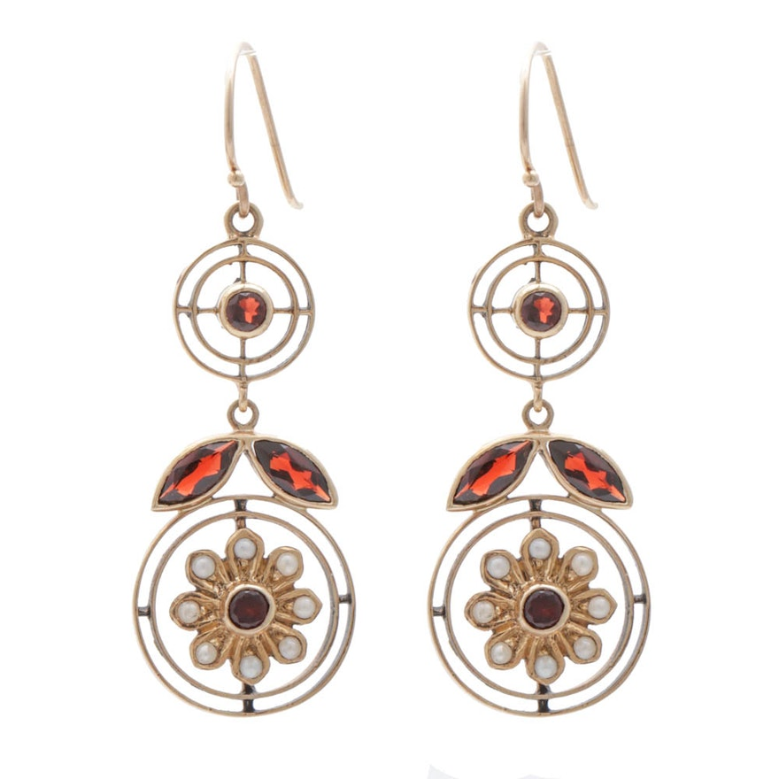 Art Nouveau 9K Yellow Gold Garnet and Cultured Seed Pearl Drop Earrings