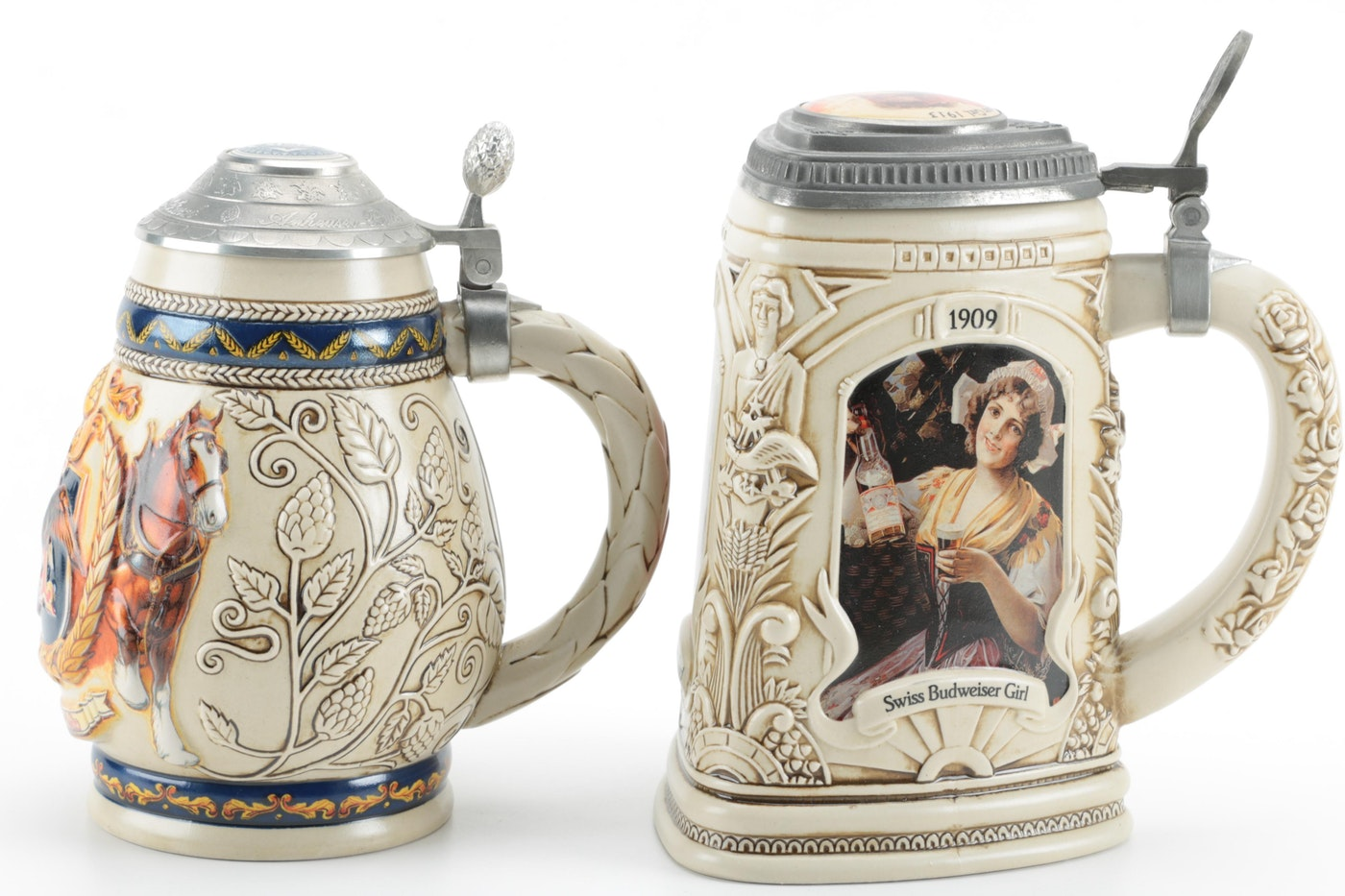 Anheuser-Busch Ceramic Beer Steins With Longton Crown