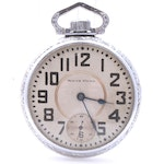 South Bend Pocket Watch with Etched Train Motif, circa Late 1940s
